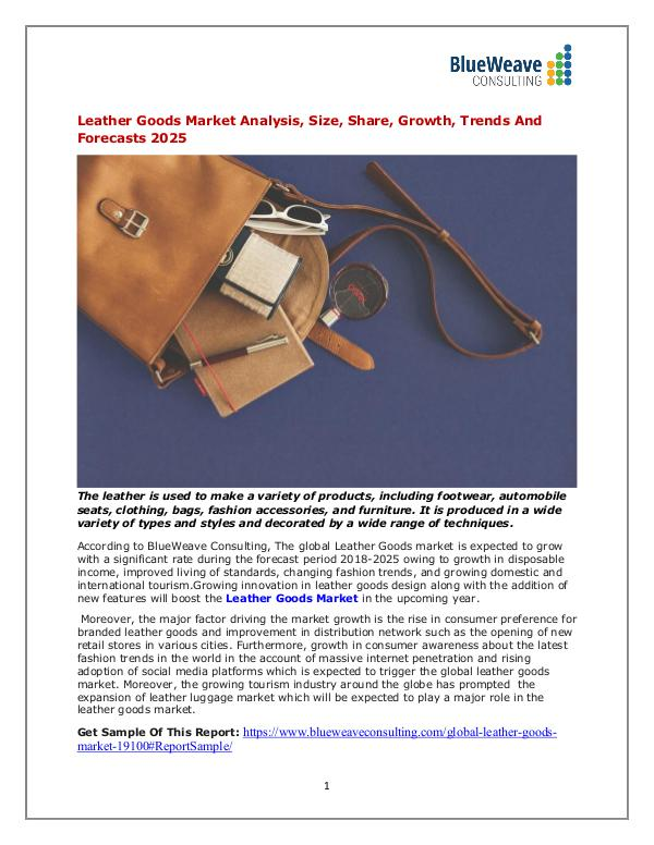 Leather Goods Market Analysis, Size, Share, Growth, Trends 2025 leather Goods
