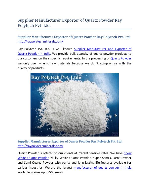 Supplier Manufacturer Exporter of Quartz Powder Ray Polytech Pvt. Ltd Supplier Manufacturer Exporter of Quartz Powder Ra