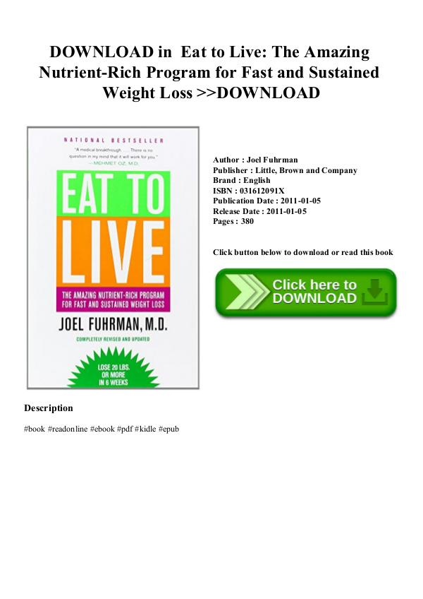 DOWNLOAD in PDF Drugs And Society PDF DOWNLOAD in PDF Eat to Live The Amazing Nutrient-R