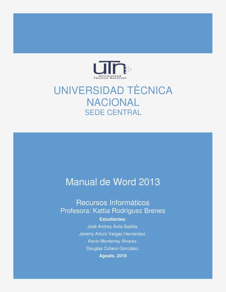 Manual de Word 2013 Para Avance No. 02