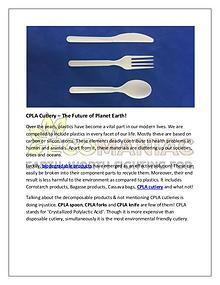 CPLA Cutlery – The Future of Planet Earth!