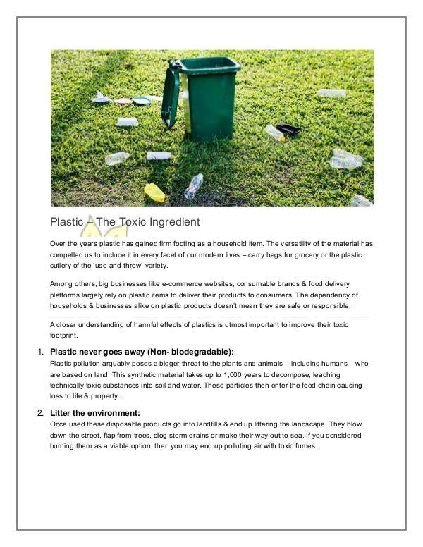 Plastic – The Toxic Ingredient Toxic Plastic