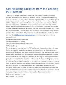 Get Moulding Facilities from the Leading PET Preform