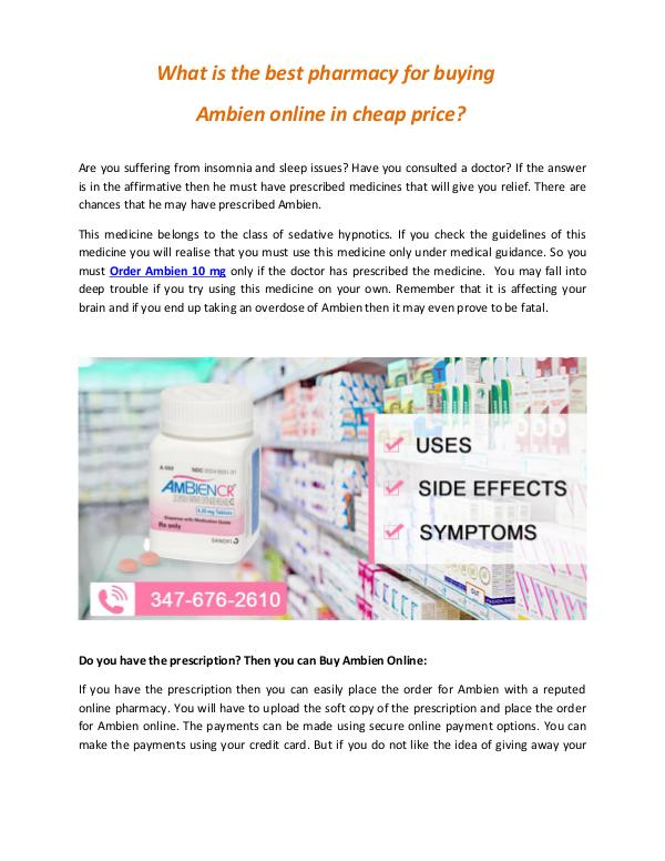 What are the best pharmacy for buying ambien online in cheap price ar What are the best pharmacy for buying Ambien onlin