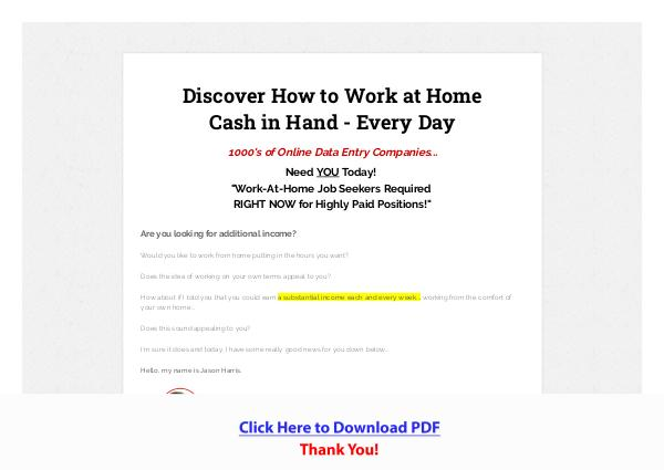 Data Entry Work Online Jobs - Earn From Home PDF Free Download
