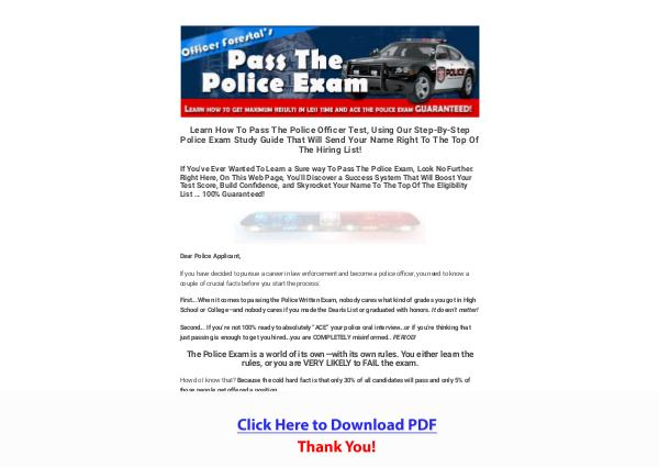 Police Exam Guide - How To Pass The Police Test PDF Free Download