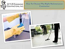 How To Choose The Right Maintenance Contractor