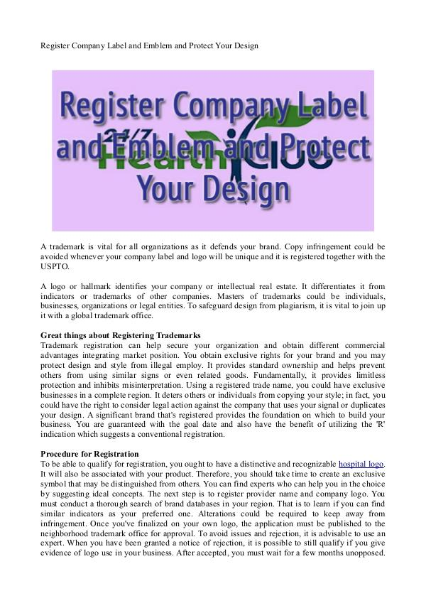 Register Company Label and Emblem and Protect Your