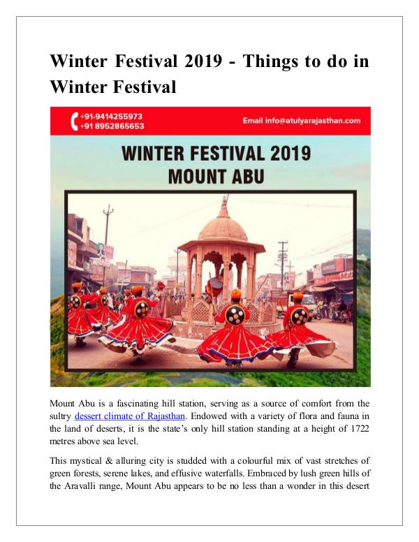 Winter Festival 2019 - Things to do in winter festival Winter Festival 2019