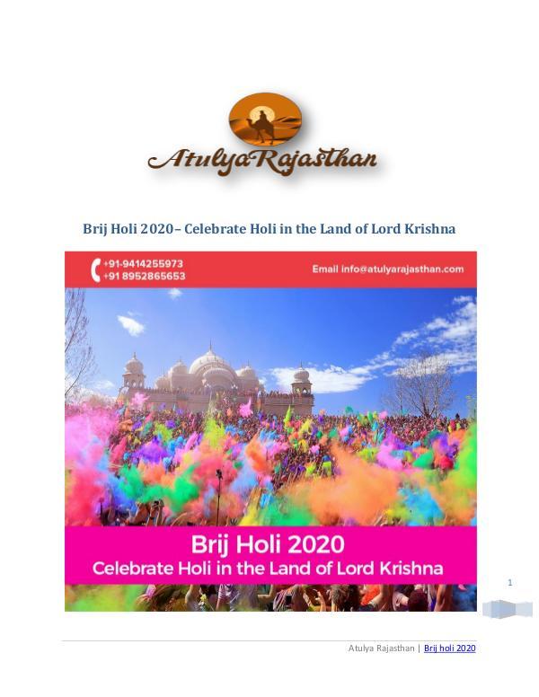 Brij Holi 2020 | Enjoy Grand Holi Revelries with loved ones Brij holi 2020