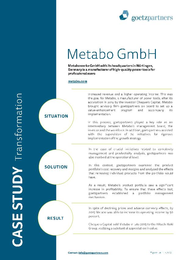 Client Case: Metabo GmbH