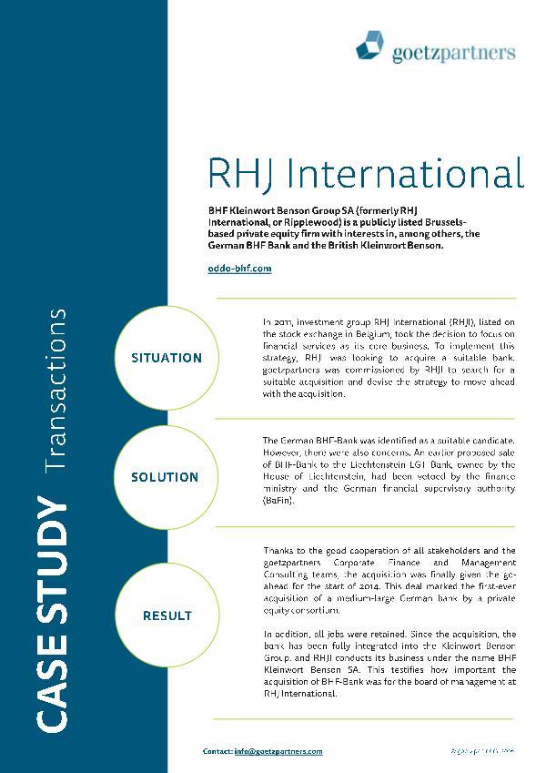 Client Case: RHJ International
