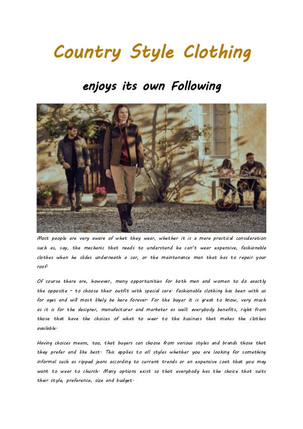 : Country Style Clothing enjoys its own Following Country Style Clothing enjoys its own Following