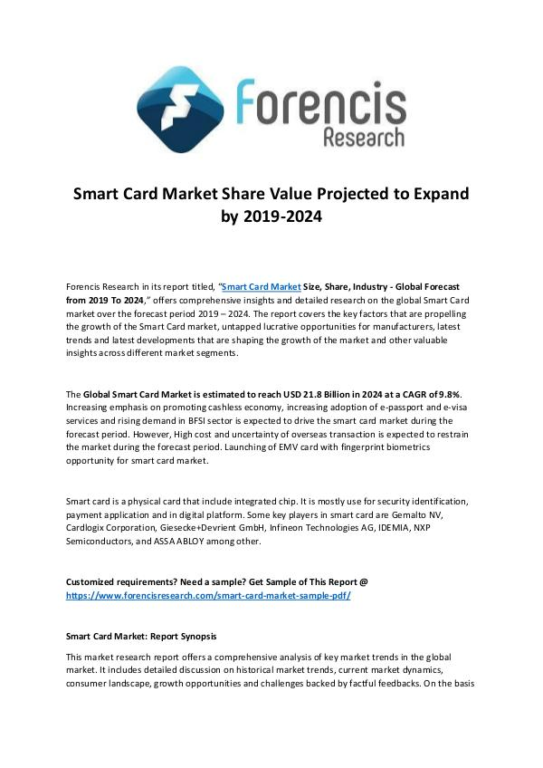 Forencis Research Smart Card Market Share by 2024