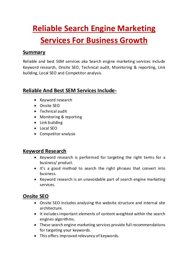Reliable Search Engine Marketing Services For Business Growth Reliable Search Engine Marketing Services For Busi