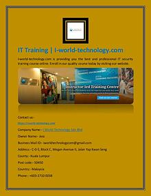 IT Training | I-world-technology.com