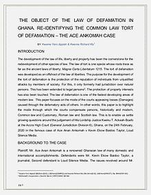 THE OBJECT OF THE LAW OF DEFAMATION IN GHANA.